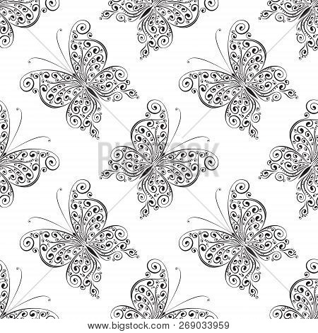 Scrollwork Butterflies Seamless Pattern, Vector Illustration Background