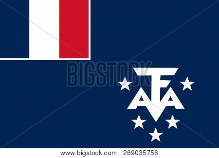 National Flag Of French Southernd Antarctic Lands. Background  With Flag Of French Southernd Antarct