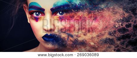 Fashion Model Girl Portrait With Colorful Powder Make Up. Beauty Woman With Bright Color Makeup. Clo