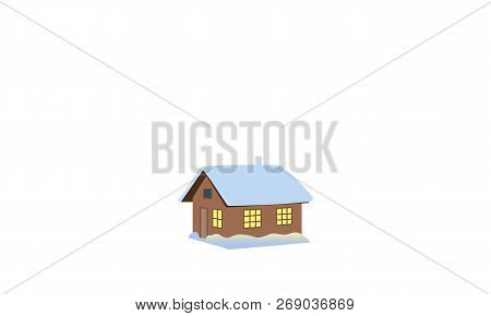 Christmas time. Winter house, shack, hut, cabin, shack, shanty, cot, cottage, snow capped, illuminated window, poster