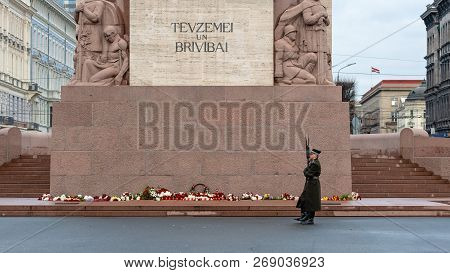 Riga, Latvia - November 14, 2018: Latvia 100 Years. Soldiers Guard Of Honor At The Freedom Monument.
