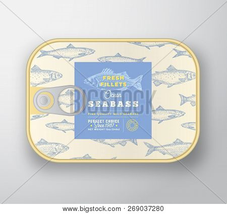 Canned Fish Label Template. Abstract Vector Fish Aluminium Container With Label Cover. Packaging Des