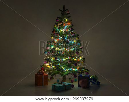 Christmas Night Decorated Fir Tree With Burning Garland, Gifts, Boxes And Piggy Bank. 3d Rending.