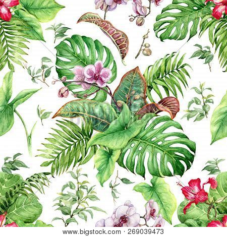 Hand Drawn Flowers And Leaves Of Tropical Plants. Seamless Floral Pattern Made With Watercolor Green