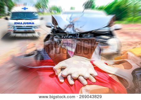 Damaged Of The Car Accident After Collision With Other Vehicles Automobiles On Street, Emergency Amb