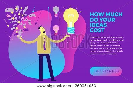 Business Infographics With Illustrations Of Business Situations. Businessman Investor Weighs The Val