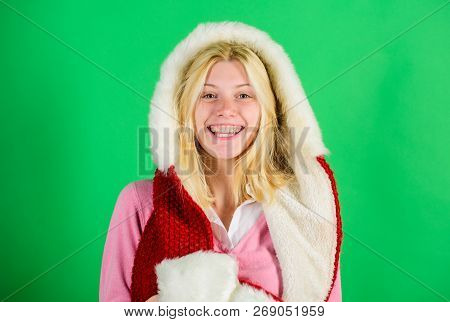 Lets Stay Warm In Fur Clothing. Woman Emotional Face Posing In Warm Furry Hood. Girl Cheerful Blonde