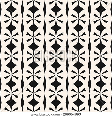 Vector Seamless Geometric Pattern. Black And White Abstract Texture With Floral Shapes, Rhombuses, G