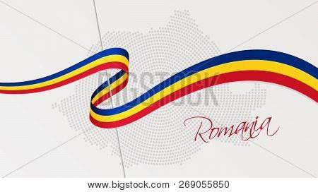 Vector Illustration Of Abstract Radial Dotted Halftone Map Of Romania And Wavy Ribbon With Romanian