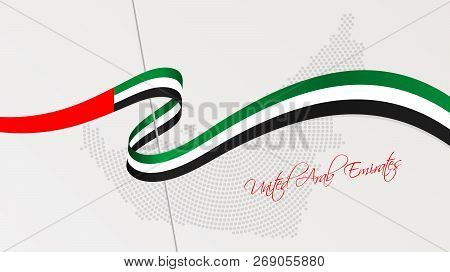 Vector Illustration Of Abstract Radial Dotted Halftone Map Of United Arab Emirates And Wavy Ribbon W