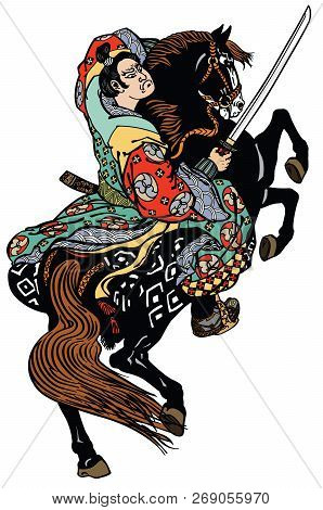 Japanese Noble Samurai Horseman  Sitting On A Rearing Pony Horse And Holding A Sword . Graphic Style