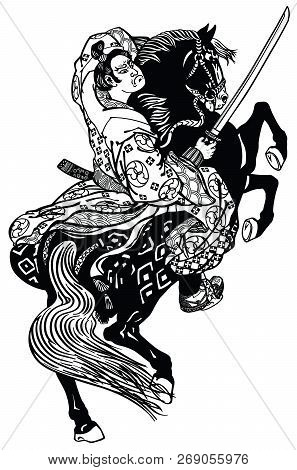 Japanese Noble Samurai Horseman  Sitting On A Rearing Pony Horse And Holding A Sword . Black And Whi