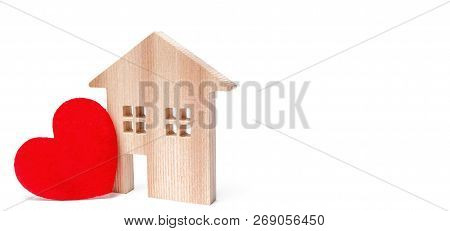 House With A Red Heart On An Isolated White Background. House Of Lovers. Affordable Housing For Youn