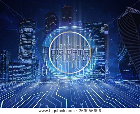 Big Data Concept. Digital Circuit Line On Blue Night City Background With Motherboard Connectors, Te