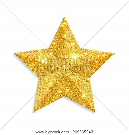 Glitter Gold Star Vector Isolated On White Background. Christmas Star Decoration. Golden Xmas Sparkl