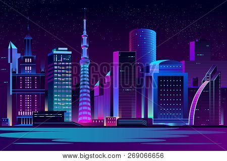 Modern City Cartoon Vector Night Landscape. Urban Cityscape Background With Skyscrapers Buildings On