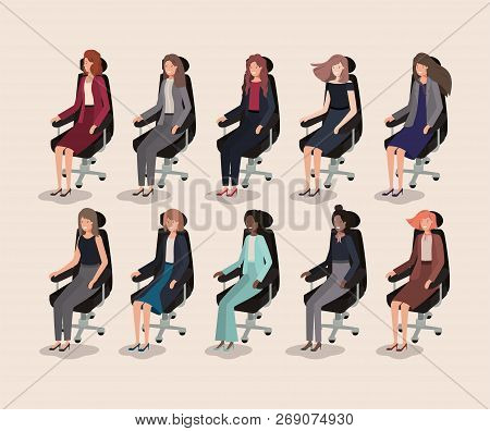 Elegants Businesswomen Sitting In Office Chairs Vector Illustration Design