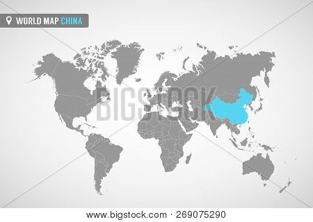 World Map With The Identication Of China. Map Of China. Political World Map In Gray Color. Asia Coun