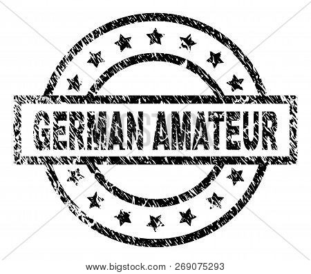 German Amateur Stamp Seal Watermark With Distress Style. Designed With Rectangle, Circles And Stars.