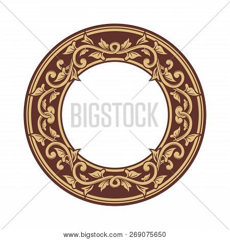 Golden Floral Circle Pattern Frame, Border Circle Pattern Frame, Engraving Circle Pattern Frame, Cir