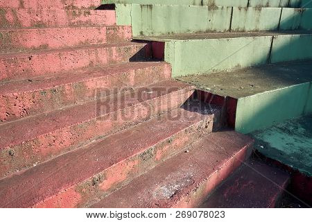 Stair Steps With A Coating Of Paint In Porec In Croatia