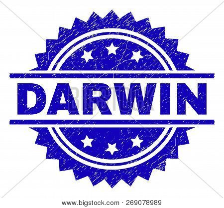 Darwin Stamp Seal Watermark With Distress Style. Blue Vector Rubber Print Of Darwin Title With Dirty