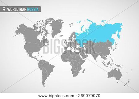 World Map With The Identication Of Russia. Map Of Russia. Political World Map In Gray Color. Asia Co