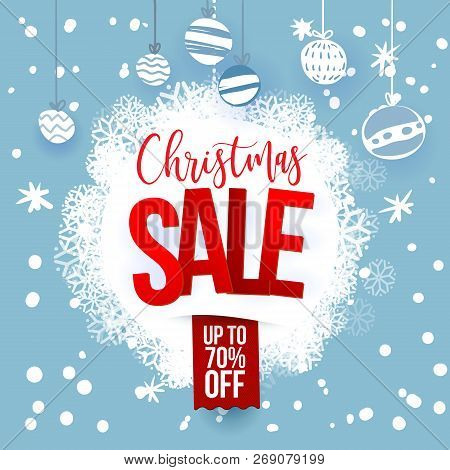 Christmas Sale Design Template. Vector Illustration. Snoflakes On Blue Background. Holidays Decorati