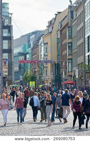 Leipzig, Germany - October 06, 2018: Tourists And Residents In A Popular Shopping Street In The Cent