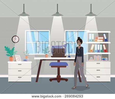 Modern Office With Black Businesswoman Vector Illustration Design