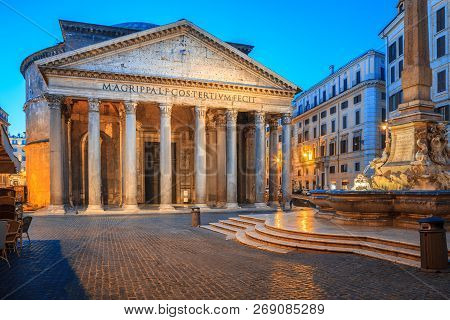 Pantheon In The Morning, Rome, Italy, Europe. Rome Ancient Temple Of All The Gods. Rome Pantheon Is