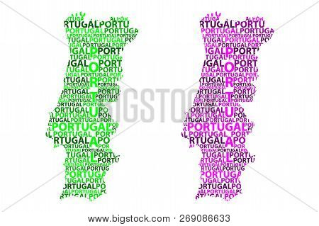 Sketch Portugal Letter Text Map, Portuguese Republic - In The Shape Of The Continent, Map Portugal -