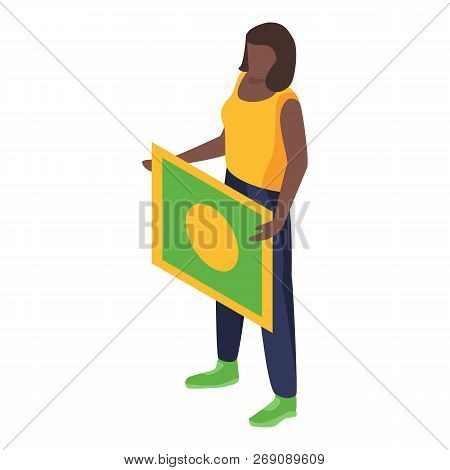 Brazil Woman Support Soccer Team Icon. Isometric Of Brazil Woman Support Soccer Team Vector Icon For