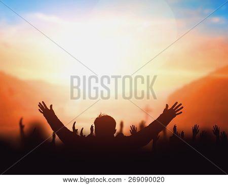 Worship Concept: Worship And Praise God Silhouette Cross Of Jesus Christ