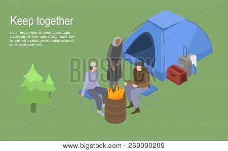 Keep Together Homeless Family Concept Background. Isometric Illustration Of Keep Together Homeless F