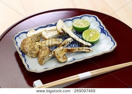 yaki matsutake, grilled matsutake mushroom, japanese autumn cuisine
