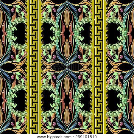 Leafy Colorful Greek Key Vector Seamless Pattern. Ornamental Ele