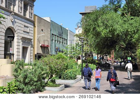 Fresno, United States - April 12, 2014: People Walk In Fresno, California. Fresno Is The 5th Most Po