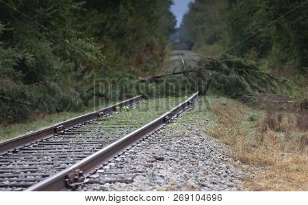 Railroad Tracks With Obstacles After Hurricane Florence Hit Near Fayetteville North Carolina