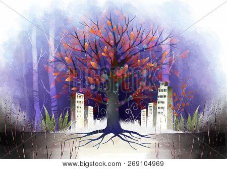Building Exterior in autumn season