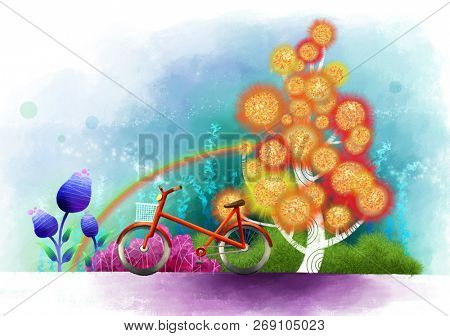 Side view of Bicycle with flora