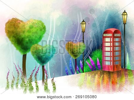 Public telephone booth in nature