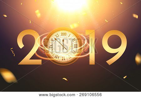 2019 New Year Shining Background With Clock. Happy New Year 2019 Celebration Decoration Poster, Fest