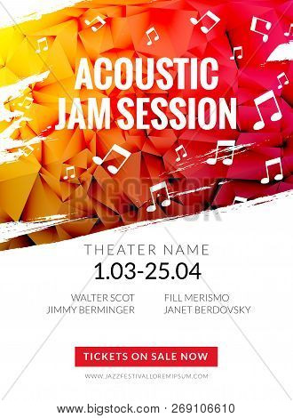 Modern Acoustic Classical Music Poster Flyer. Local Music Festival Announcment, Classical Acoustic C