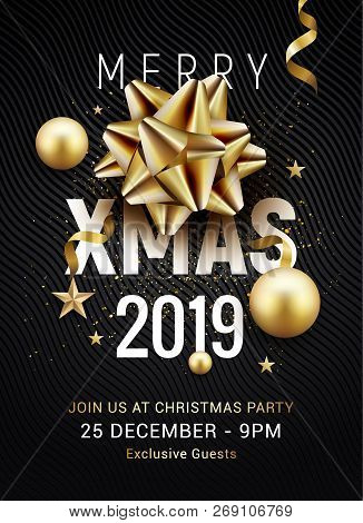 Christmas Party Poster Template 2019. Christmas Gold Silver Balls And Golden Bow Flyer Greeting Deco