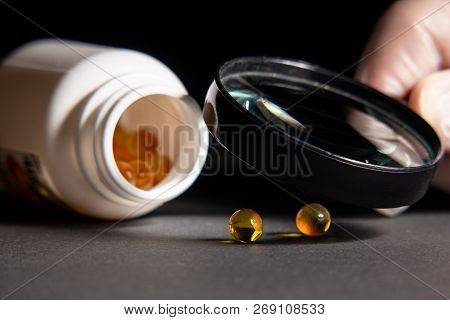 Photo Pills Close-up. Quality Control Of Pills And Biologically Active Additives. The Concept Of Cou
