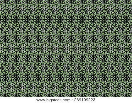 Green Stylized Floral Pattern On A Black Background