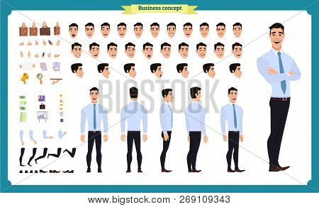 Front, Side, Back View Animated Character. Manager Character Creation Set With Various Views, Hairst