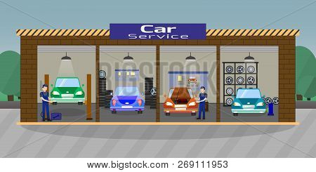 Car Service And Repair Concept. Car Maintenance In Garage. Automobile Workshop Set. Car Mechanic Wor