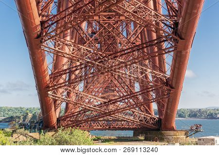 Construction Detail Bottom Forth Bridge Over Firth Of Forth, Scotland